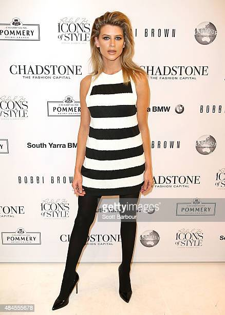 Sophie Van Den Akker arrives to attend the 'Icons of Style' campaign launch at Chadstone Shopping Centre on August 20 2015 in Melbourne Australia