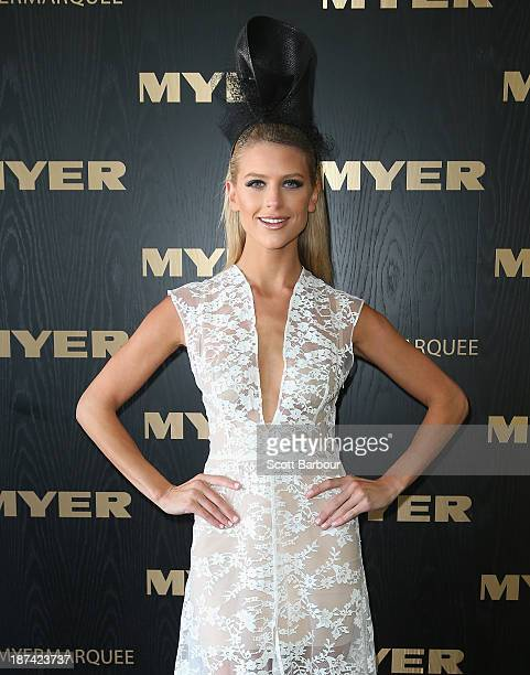Sophie van den Akker attends the Myer marquee during Stakes Day at Flemington Racecourse on November 9 2013 in Melbourne Australia