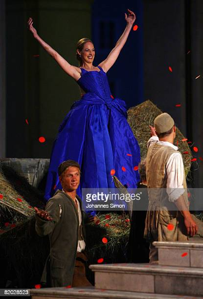 Sophie von Kessel , 'Paramour' performs on stage during the rehearsal of 'Jedermann' 'Everyman' of Hugo von Hofmannsthal on July 21, 2008 in...