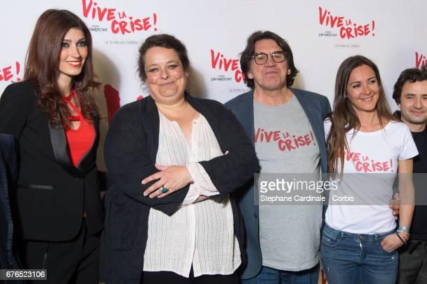 Sophie Vouzelaud Isabelle de Hertogh Director JeanFrancois Davy and Emmanuelle Boidron attend the 'Vive La Crise' Paris Premiere at Cinema Max Linder...