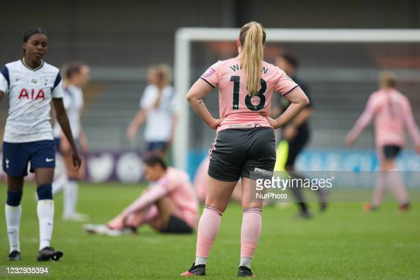 Sophie Walton gestures during the 2020-21 FA Womens Cup fixture between Tottenham Hotspur and Sheffield United at The Hive on May 16, 2021 in Barnet,...