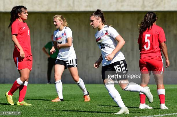 Sophie Weidauer of Germany celebrates after scorting a goal during the UEFA Women's U19 European Championship Qualifier match between Germany and...