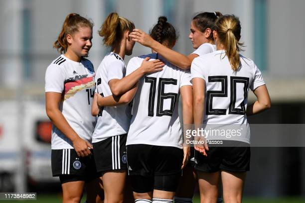 Sophie Weidauer of Germany celebrates with team mates after scores one goal against Azerbaijan during the UEFA Women's U19 European Championship...