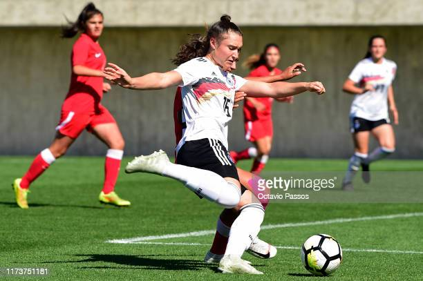 Sophie Weidauer of Germany scores a goal during the UEFA Women's U19 European Championship Qualifier match between Germany and Azerbaijan at Cidade...