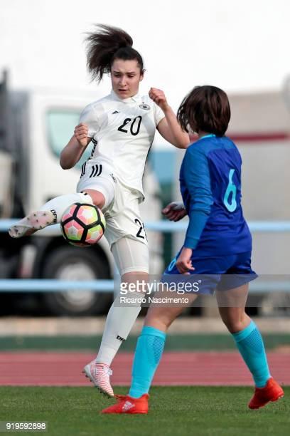Sophie Weidauer of Girls Germany U16 challenges Bondil van den Heuvel of Girls Netherllands U16 during UEFA Development Tournament match between U16...