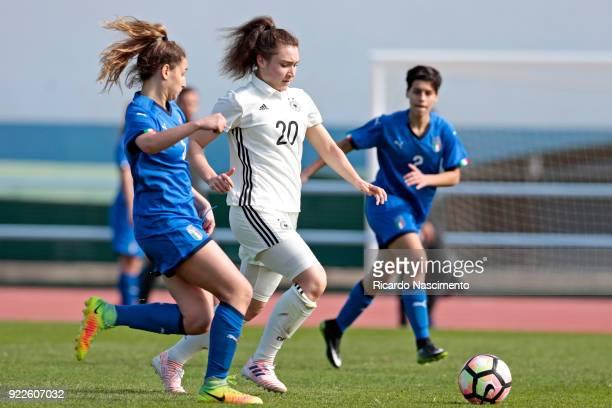 Sophie Weidauer of Girls Germany U16 challenges Emma Severini of Girls Italy U16 during UEFA Development Tournament match between U16 Girls Germany...