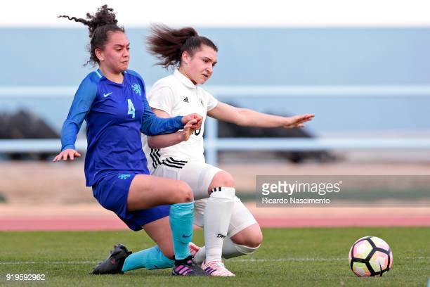 Sophie Weidauer of Girls Germany U16 challenges Tineke de Jong of Girls Netherllands U16 during UEFA Development Tournament match between U16 Girls...