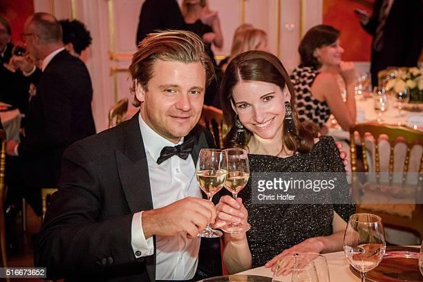 Sophie Wepper and Daniel Meister attend Karl Spiehs 85th birthday celebration on March 19 2016 in Vienna Austria