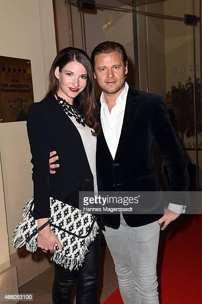 Sophie Wepper and David Meister attend the Schwarzreiter Tagesbar Opening In Munich at Hotel Vier Jahreszeiten on March 12 2015 in Munich Germany