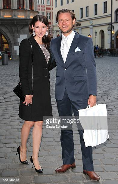Sophie Wepper and her boyfriend David Meister attend the Elmar Wepper 70th birthday party at Schuhbeck's Suedtiroler Stuben on April 16 2014 in...