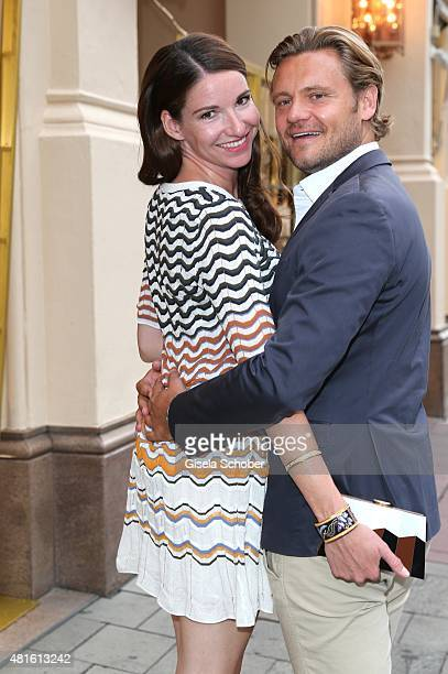 Sophie Wepper and her boyfriend David Meister during the Eclat Dore summer party at Hotel Vier Jahreszeiten on July 22 2015 in Munich Germany