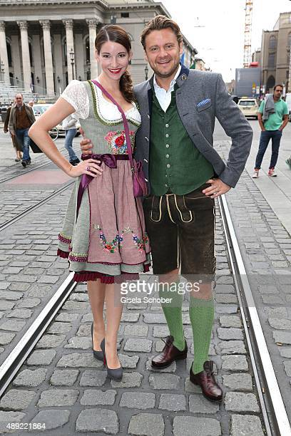 Sophie Wepper and her boyfriend David Meister during the 'Fruehstueck bei Tiffany' at Tiffany Store ahead of the Oktoberfest 2015 on September 19...