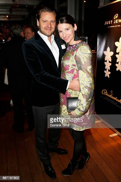 Sophie Wepper and her husband David Meister attend the Rueschenbeck and BUNTE reception at Hotel Bayerischer Hof on December 6 2017 in Munich Germany