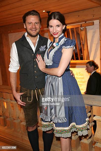 Sophie Wepper and her husband David Meister during the Weisswurstparty at Hotel Stanglwirt on January 20 2017 in Going near Kitzbuehel Austria