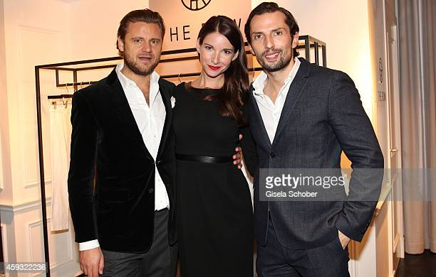 Sophie Wepper her boyfriend David Meister and Quirin Berg pose during MaryKate Olsen and Ashley Olsen present their collection 'The Row' at Marion...
