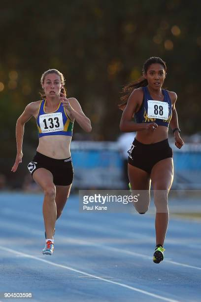 Sophie White and Brooke PiresParenzee compete in the women's 100 metre during the Jandakot Airport Perth Track Classic at WA Athletics Stadium on...