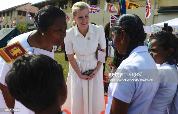 Sophie wife of Britain's Prince Edward meets with students of Sri Lanka's schools for the deaf and blind near the capital Colombo February 3 2018 The...