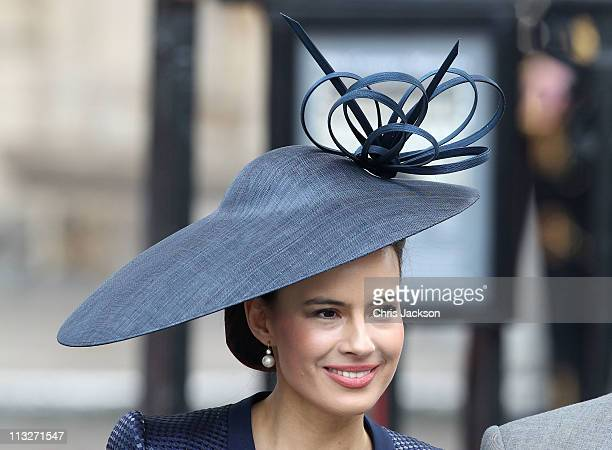 Sophie Winkleman Lady Frederick Windsor exits following the marriage of Prince William Duke of Cambridge and Catherine Duchess of Cambridge at...