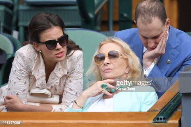 Sophie Winkleman, Princess Michael of Kent and Lord Frederick Windsor on Centre Court during Men's Finals Day of the Wimbledon Tennis Championships...