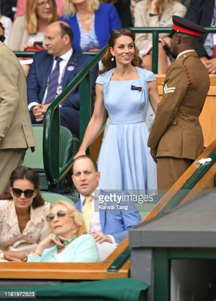 Sophie Winkleman, Princess Michael of Kent, Lord Frederick Windsor and Catherine, Duchess of Cambridge on Centre Court during Men's Finals Day of the...