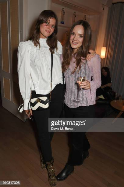 SophieRose Harper and Kristy Buglass attend the launch of Teresa Tarmey's new 'at home facial system' at Mortimer House sponsored by CIROC on January...