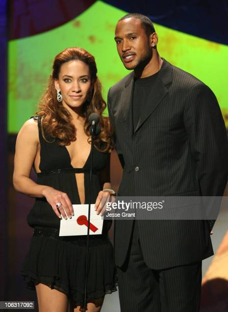 Sophina Brown and Henry Simmons presenters during 21st Annual Soul Train Music Awards Show at Pasadena Civic Center in Pasadena California United...