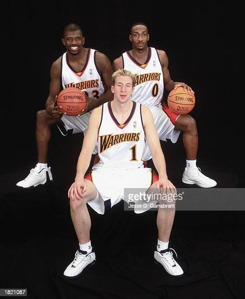 Sophmore Team members Troy Murphy Jason Richardson and Gilbert Arenas of the Golden State Warriors prior to playing in the got milk Rookie Challenge...