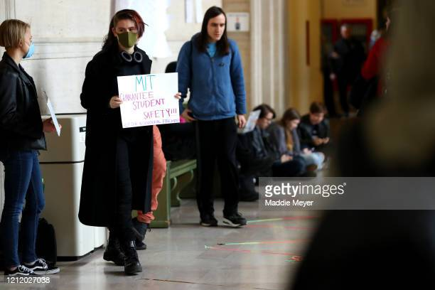 Sophomore Ether Bezugla protests inside Building 10 on the campus of Massachusetts Institute of Technology on March 12 2020 in Cambridge...