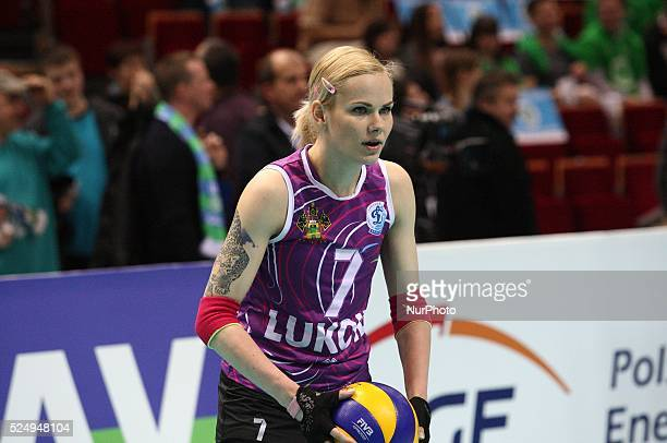 Sopot Poland 11th April 2015 2015 CEV Volleyball Women Cup final game between Atom Trefl Sopot and Dinamo Krasnodar at ERGO Arena sport hall in Sopot...