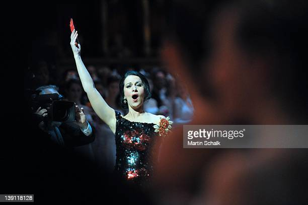 Sopran Angela Gheorghiu performs during opening ceremony of the traditional Vienna Opera Ball at the Vienna State Opera on February 16 2012 in Vienna...