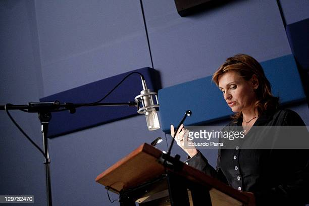 Soprano Ainhoa Arteta tested the dubbing of voices for a new series at Soundub studios on October 20 2011 in Madrid Spain