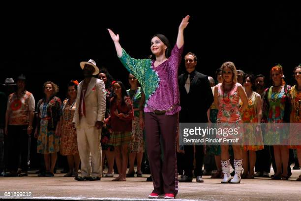 Soprano Alexandra Kurzak acknowledges the applause of the audience at the end of after have performed during the AROP Charity Gala in the...