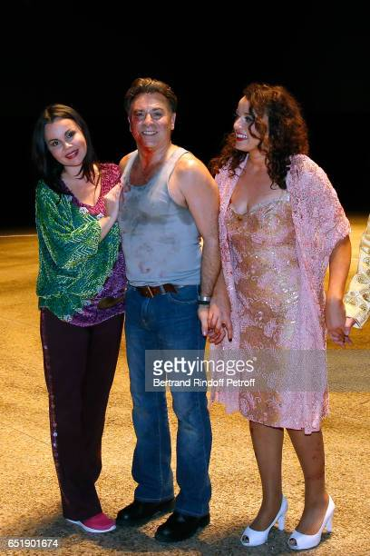 Soprano Alexandra Kurzak Tenor Roberto Alagna and MezzoSoprano Clementine Margaine pose after have performed during the AROP Charity Gala in the...