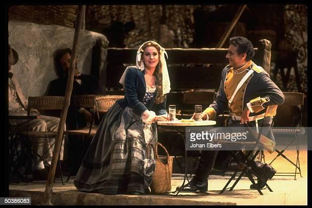 Soprano Angela Gheorghiu as Micaela singing w tenor Placido Domingo as Don Jose in Bizet's Carmen on stage at the Metropolitan Opera