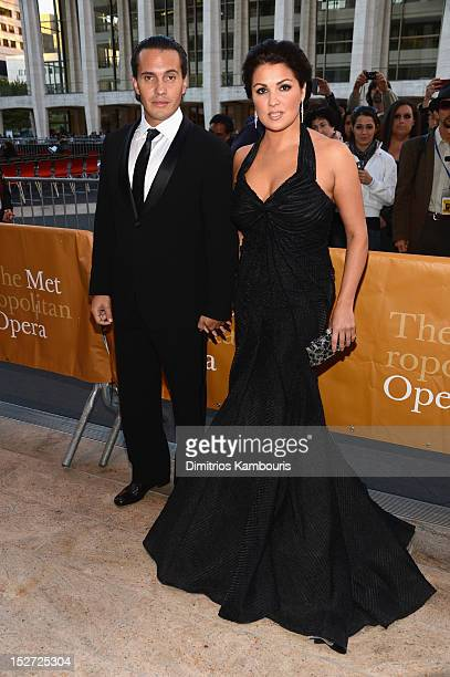 Soprano Anna Netrebko and husband Erwin Schrott attend the 2012 Metropolitan Opera Season Opening Night performance of L'Elisir D'Amore at The...