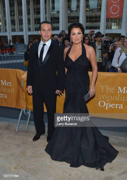 Soprano Anna Netrebko and husband Erwin Schrott attend the 2012 Metropolitan Opera Season Opening Night performance of 'L'Elisir D'Amore' at The...
