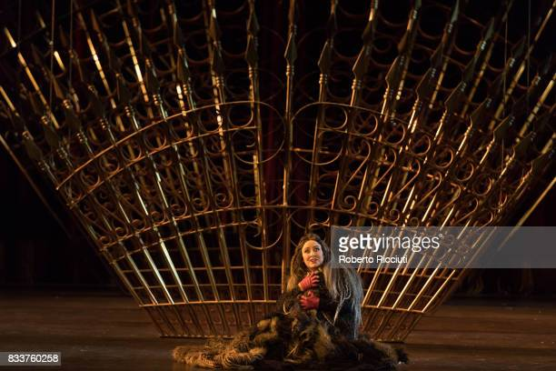 Soprano Anna Pirozzi aof Teatro Regio Torino performs on stage 'Verdi's Macbeth' during a dress rehearsal at Festival Theatre as part of the 70th...