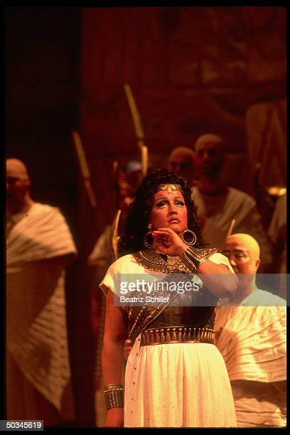 Soprano Aprile Millo singing the title role in Verdi's Aida on stage at the Metropolitan Opera
