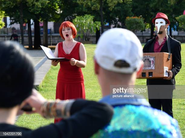 Soprano Claudia Roick singing during the Fete de la Musique festival at Lustgarten in Berlin Germany 21 June 2016 Musicians play music for free at...
