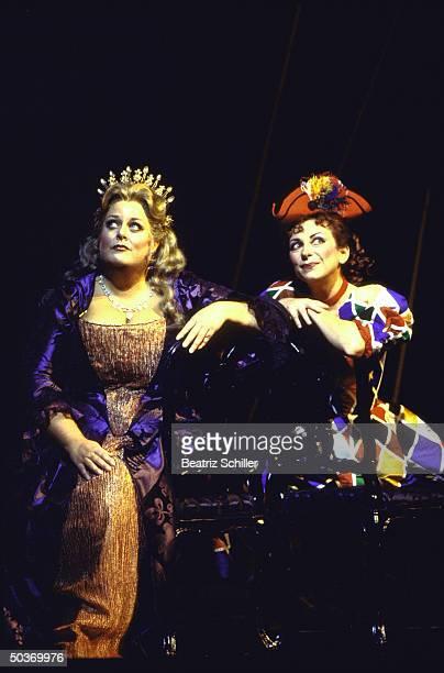 Soprano Deborah Voight as Ariadne Natalie Dessay as Zerbinetta in Richard Strauss's Ariadne auf Naxos on stage at the Metropolitian Opera