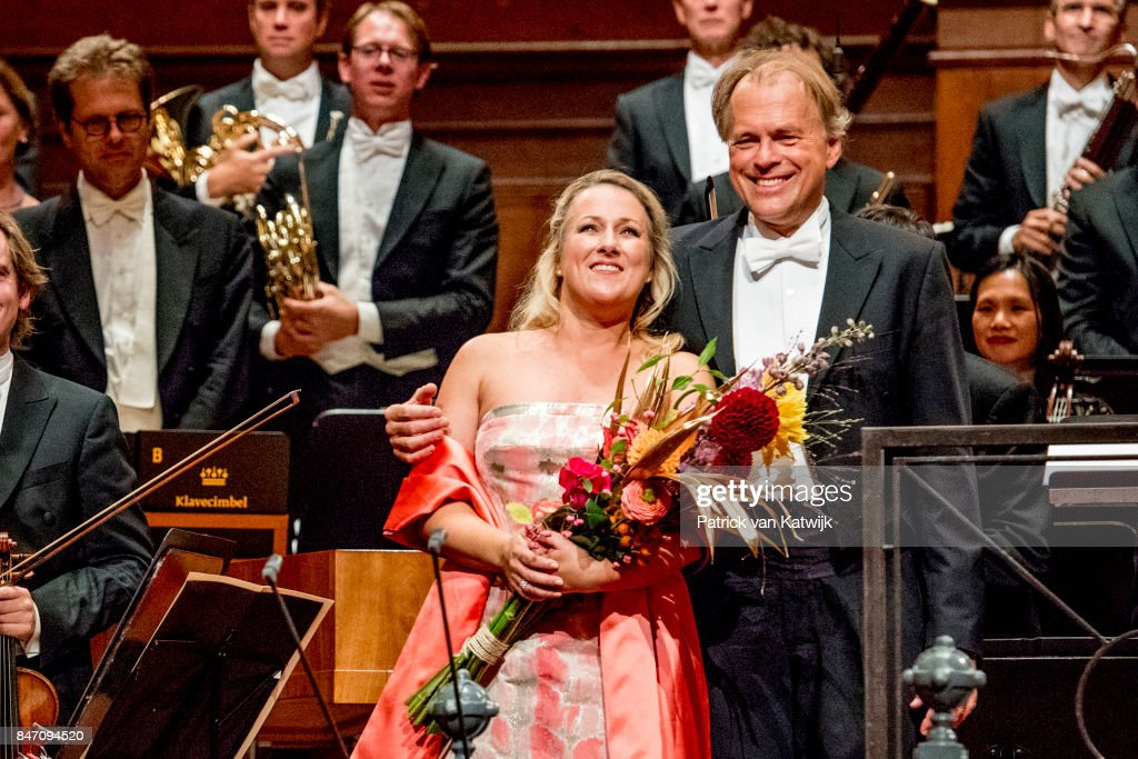 Soprano Diana Damrau and conductor Thomas Hengelbrock attend the opening of the new season of the Concertgebouw orchestra on September 14, 2017 in Amsterdam, Netherlands.