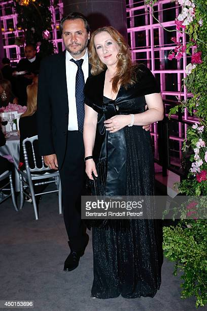 Soprano Diana Damrau and her husband Nicolas Teste after the show at the AROP Charity Gala with play of 'La Traviata' Held at Opera Bastille on June...