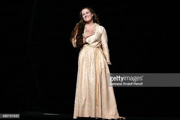 Soprano Diana Damrau at the end of the show whyle the AROP Charity Gala with play of 'La Traviata' Held at Opera Bastille on June 5 2014 in Paris...