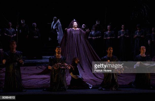Soprano Elizabeth Connell performs during the last dress rehearsal of Bellini's 'Norma' at the Sydney Opera House June 23 2004 in Sydney Australia