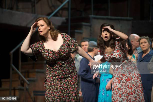 Soprano Jessica Pratt and Mercedes Gancedo perform on stage L'Elisir d'Amore at Gran Teatre del Liceu on January 3 2018 in Barcelona Spain