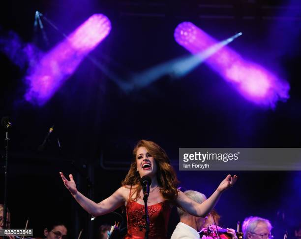Soprano Joanne Forest entertains thousands of spectators attending the annual Castle Howard Proms Spectacular concert held on the grounds of the...