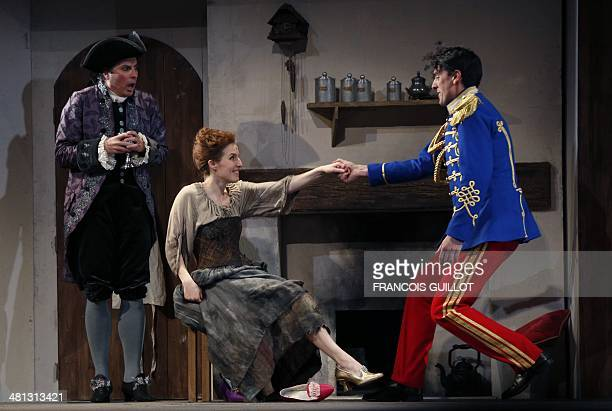 Soprano Kimy McLaren performs as Cinderella with baryton Damian Thantrey as the Prince during a dressed rehearsal of the play 'Into the Woods' on...