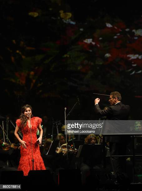 Soprano Larisa Martinez performs on stage during an Andrea Bocelli concert at Madison Square Garden on December 13 2017 in New York City