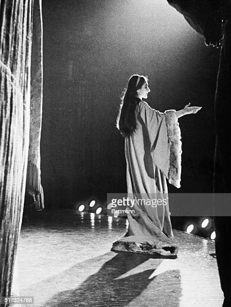 Soprano Maria Callas acknowledges the ovation she received at the Metropolitan Opera House for her singing in the role of Violetta in Verdi's opera...