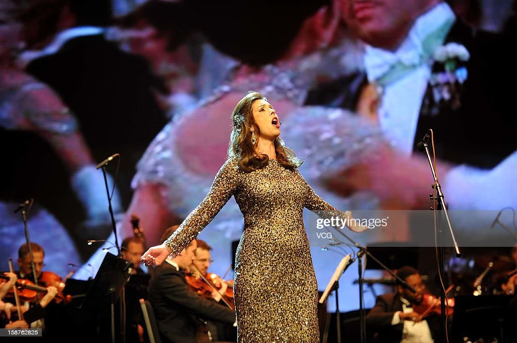 Soprano Michele Sexton and American Hollywood Film Orchestra perform on the stage during Chongqing New Year Concert at Chongqing Grand Theatre on December 27, 2012 in Chongqing, China.